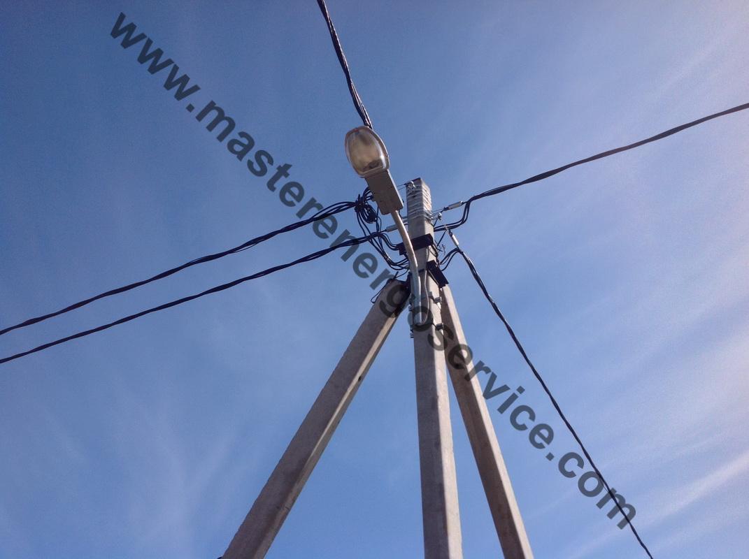 к каким проводам подключаются уличные светильники на опоре